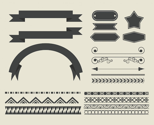 Set of decorative ribbon cartoon Free Vector
