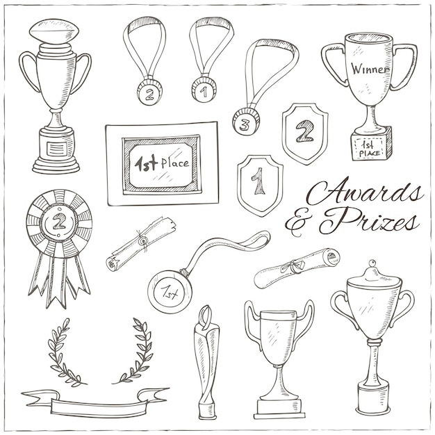 Set of decorative sketch award with trophy, medal, winner prize, champion cup, ribbon. Premium Vector