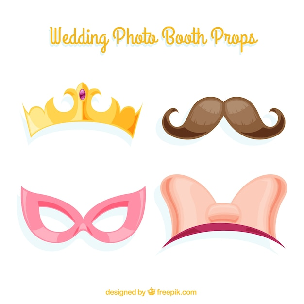 Set of decorative wedding accessories for photo booth Free Vector