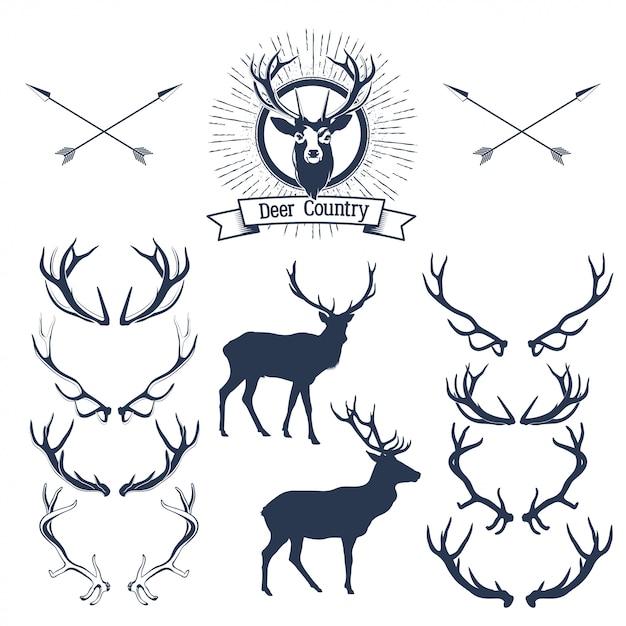 Set of deers  silhouette, deer head and antlers.  illustration Premium Vector