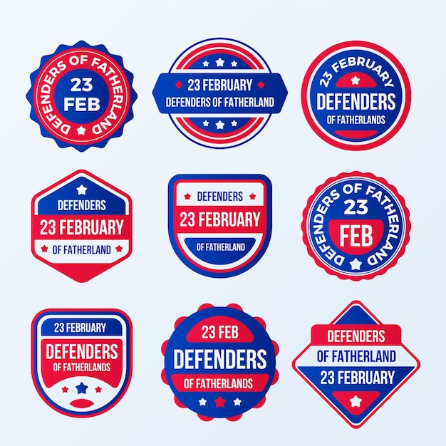 Set ofdefender of the fatherland day label Free Vector