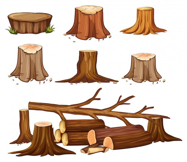 A set of deforestation Premium Vector