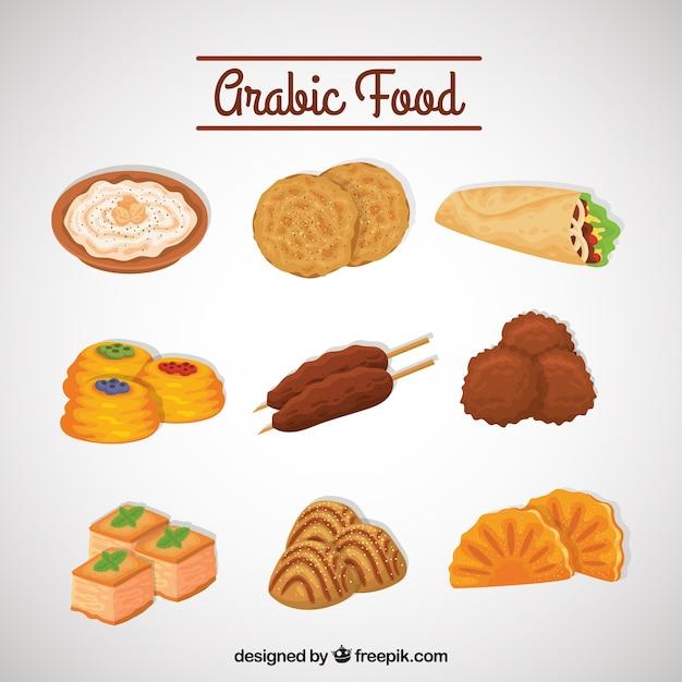 Set of delicious arabic food menu Vector | Free Download