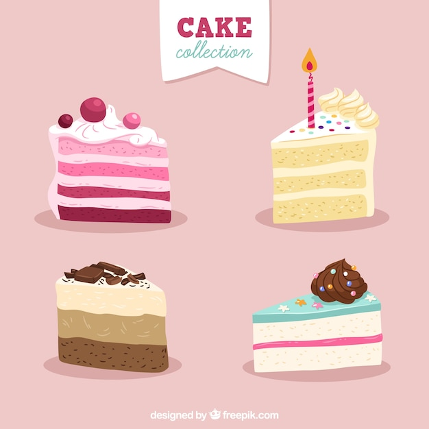 Set of delicious cakes in hand drawn style Free Vector