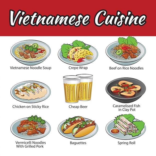 Set of delicious and cuisine of vietnam Premium Vector