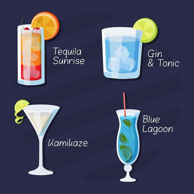 Set of delicious drawn cocktails Free Vector