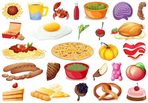 Set of delicious food Free Vector
