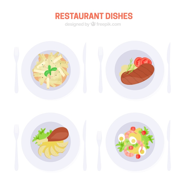 Set of delicious restaurant Free Vector