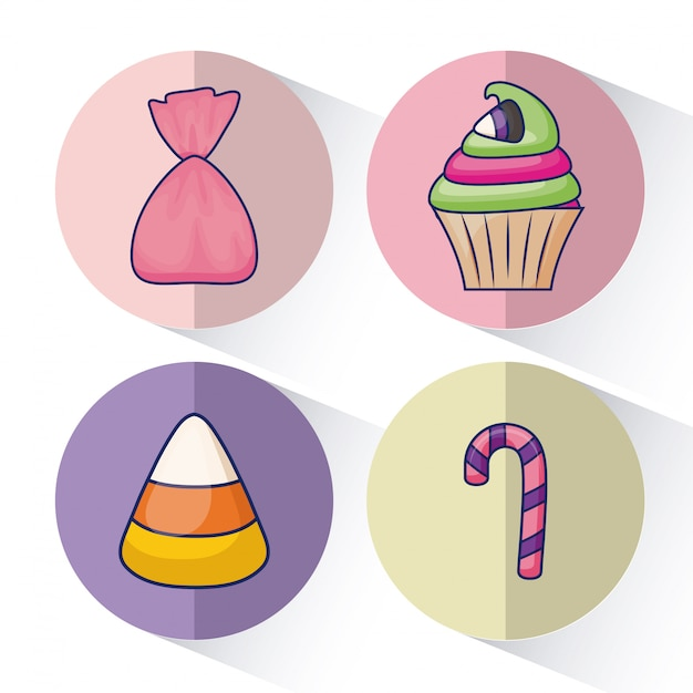 Set of delicious sweet cupcake and candies Free Vector