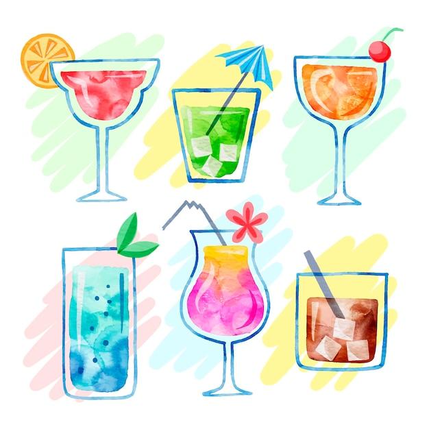 Set of delicious watercolor cocktails Free Vector