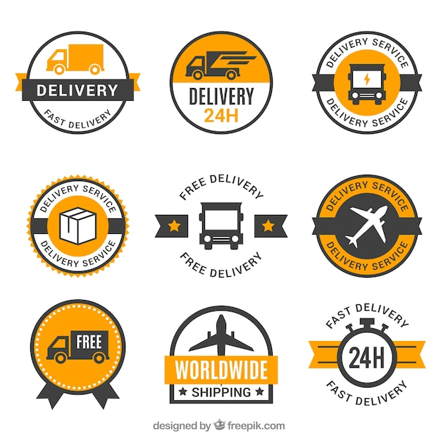 Set of delivery labels with vintage style Free Vector
