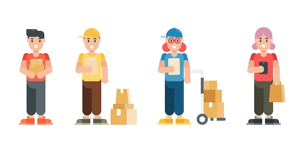 Set of delivery man and woman characters. modern cartoon man and woman characters in flat style. Premium Vector