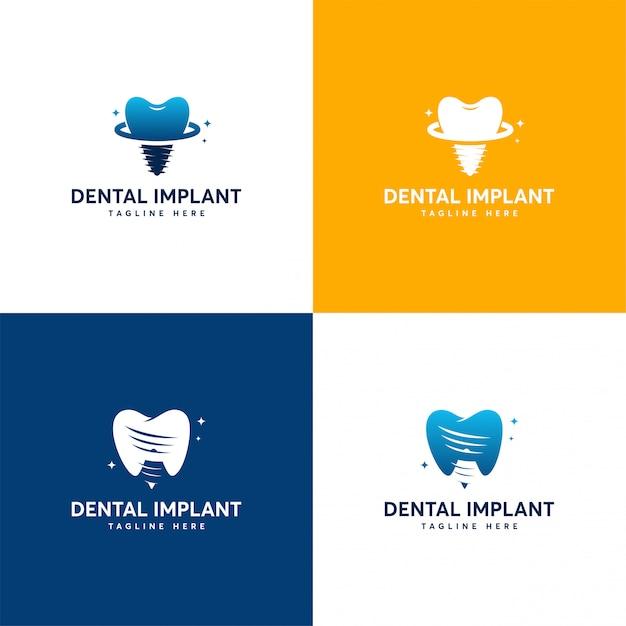 Set of dental implant logo designs, dental care logo template Premium Vector