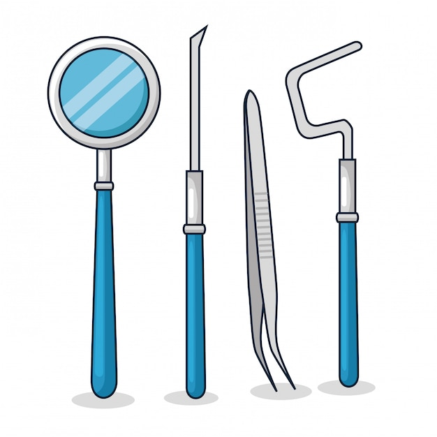 Set dentist medicine equipment to oral hygiene Free Vector