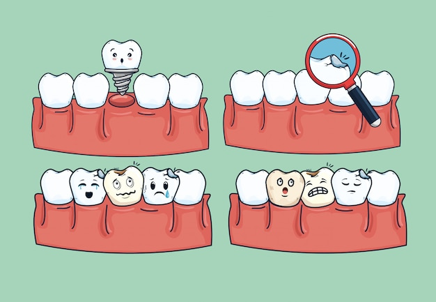 Set dentistry treatment hygiene with medical equipment Free Vector