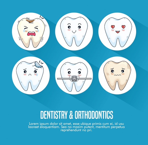 Set dentistry treatment and teeth medical instrument Free Vector