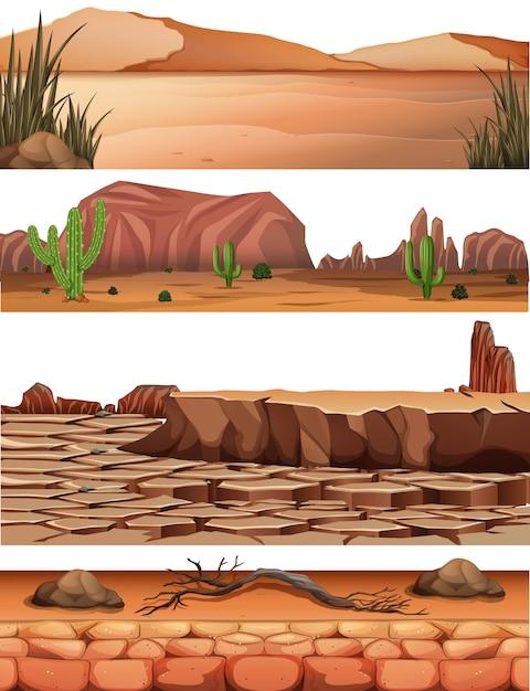 Set of desert land Free Vector