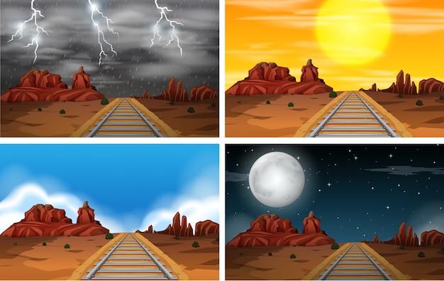 Set of desert railway scenes Free Vector