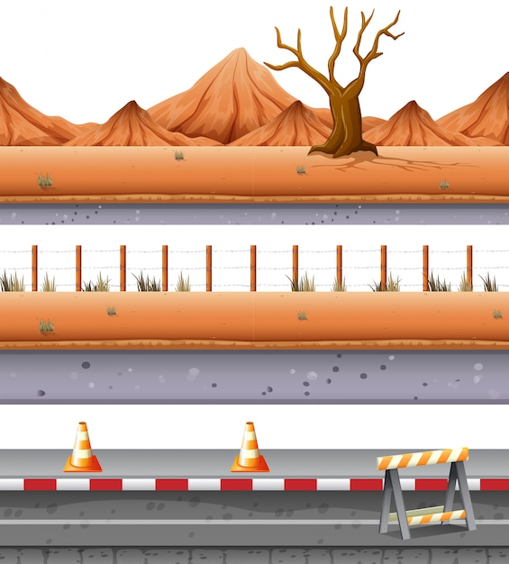 Set of desert road Free Vector