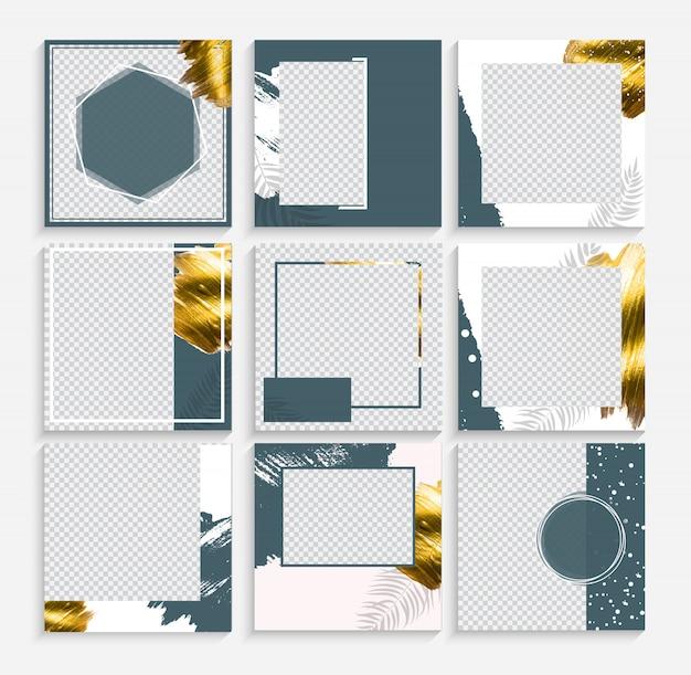 Set of design backgrounds template for social media post frame. Premium Vector