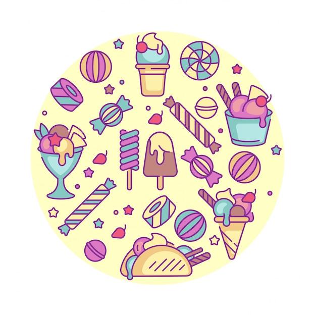 Набор красочных шаблонов логотипа и эмблемы - мороженое и мороженое. разница иконы мороженого. логотипы в модном линейном стиле, изолированные на белом фоне. Premium векторы