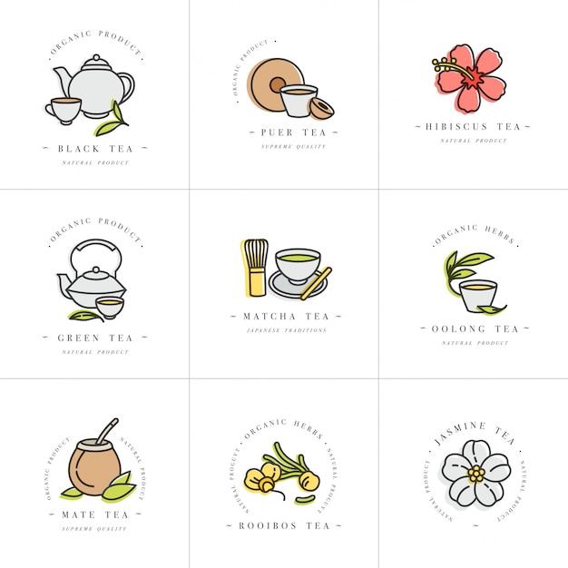 Набор дизайн красочные шаблоны логотипов и эмблем - органические травы и чаи. значок различных чаев. логотипы в модном линейном стиле, изолированные на белом фоне. Premium векторы