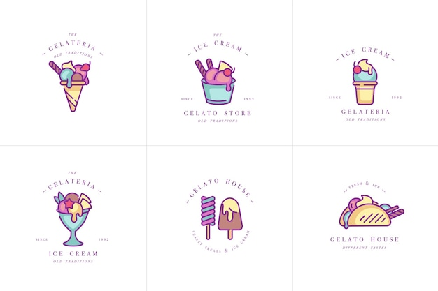 Set design colorful templates logo and emblems - ice cream and gelato. difference ice cream icons. logos in trendy linear style isolated on white background. Premium Vector