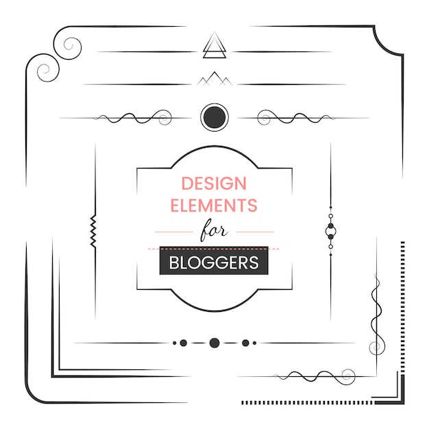 Set of design elements for bloggers vector Free Vector