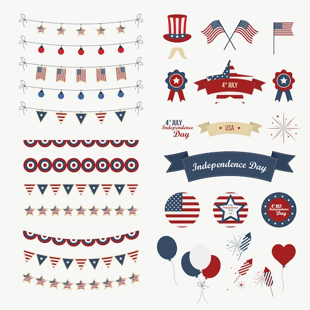 A set of design elements for independence day. 4th of july objects, element. isolated on white. vector icons. Premium Vector