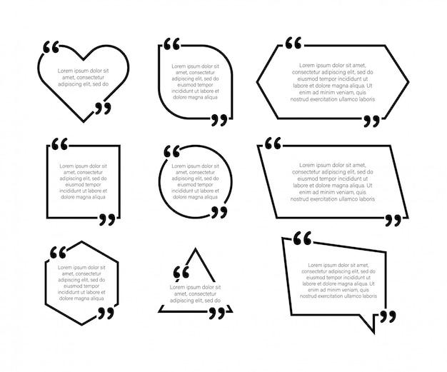 Задать элементы дизайна цитаты. запятые. векторная иллюстрация в плоском стиле на белом Premium векторы
