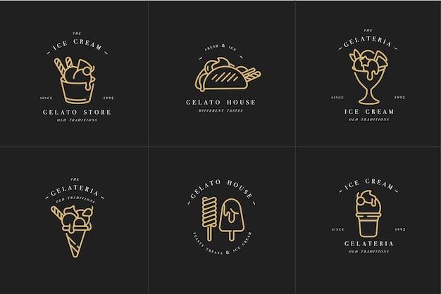 セットデザインのゴールデンテンプレートのロゴとエンブレム-アイスクリームとジェラート。トレンディなリニアスタイルが分離されました。 Premiumベクター