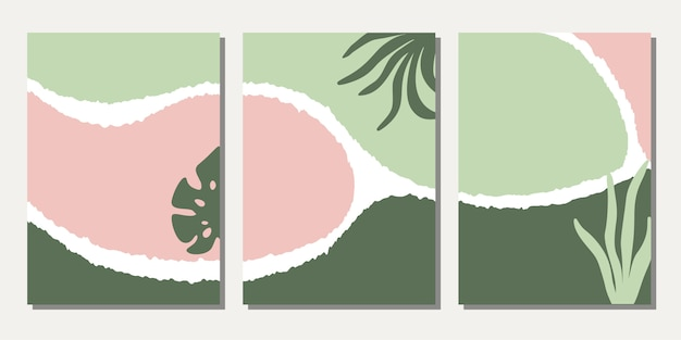 Set of design templates with abstract floral shapes. Premium Vector