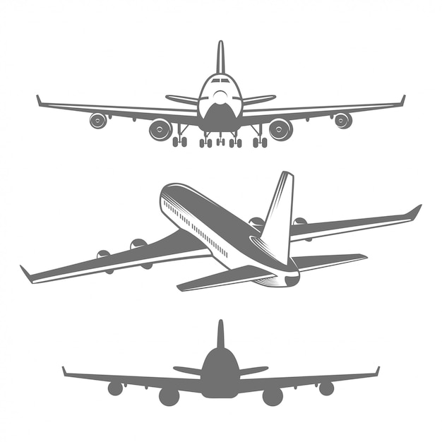 Set of designed airplanes illustrations Free Vector