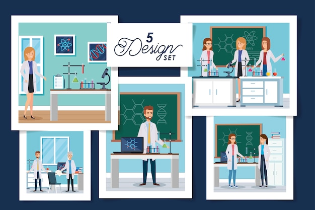Set  designs laboratory scenes with group scientific Premium Vector