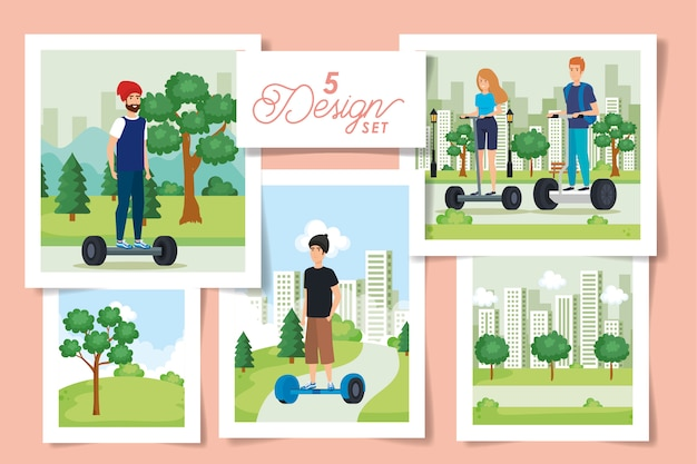 Set  designs of young people in electric skateboards Premium Vector
