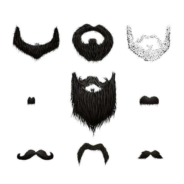 Set of detailed black mustaches and beards isolated on white Premium Vector