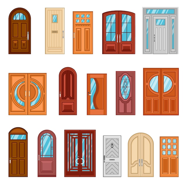 Set of detailed colorful front doors Free Vector