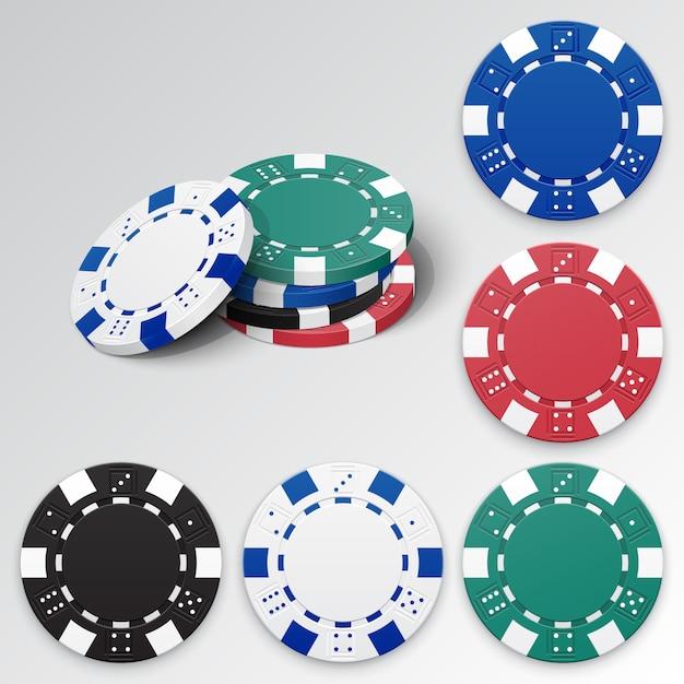 Set of detailed gambling casino chips Premium Vector