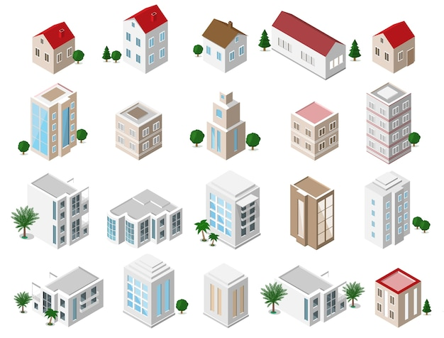 Set of  detailed isometric city buildings: private houses, skyscrapers, real estate, public buildings, hotels. building icons collection Premium Vector