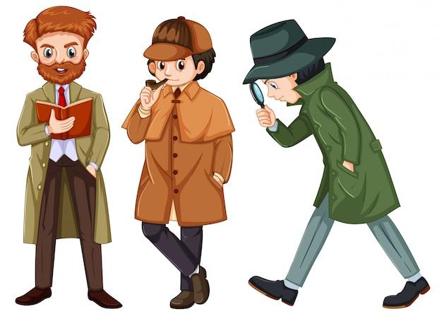 Set of detective character Premium Vector