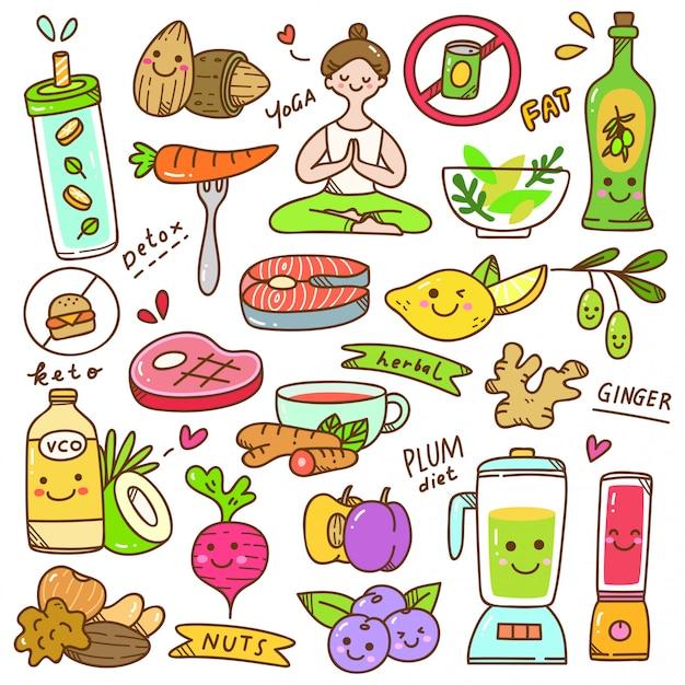 Set of diet kawaii doodle Premium Vector