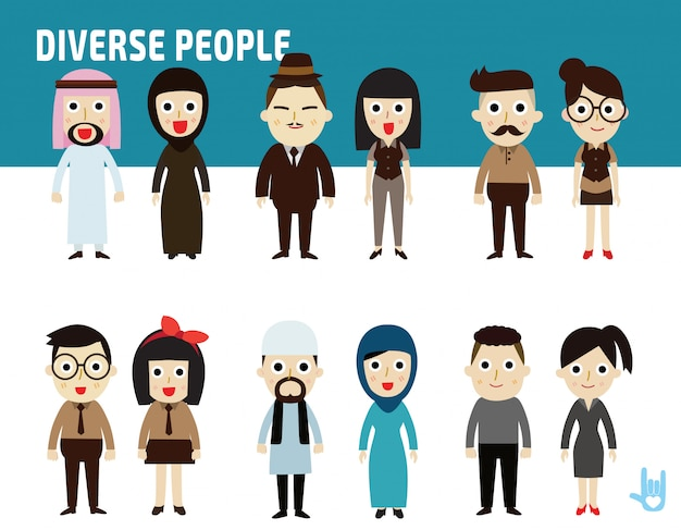 Set difference nationality of business people Premium Vector
