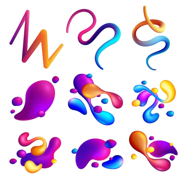 Set of different abstract shapes of holographic fluid spills Free Vector