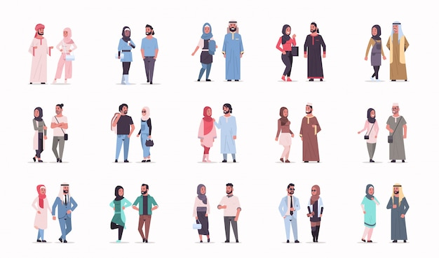 Set different arabic business couple standing together arab man woman wearing traditional clothes arabian cartoon characters collection Premium Vector