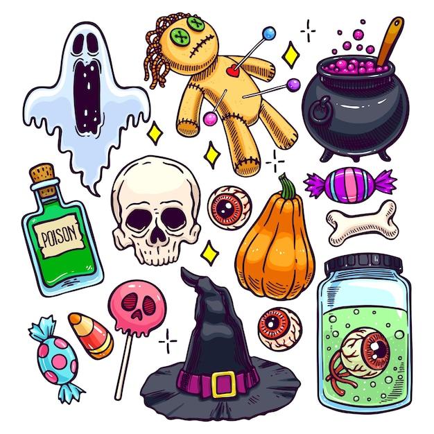 Set of different attributes of halloween. hand-drawn illustration Premium Vector