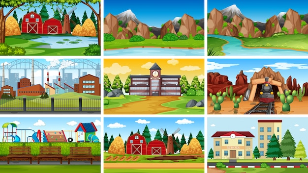 Set of different background scenes or background Free Vector