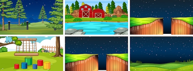 Set of different background Free Vector