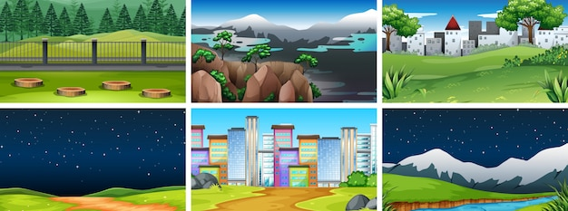 Set of different backgrounds Free Vector
