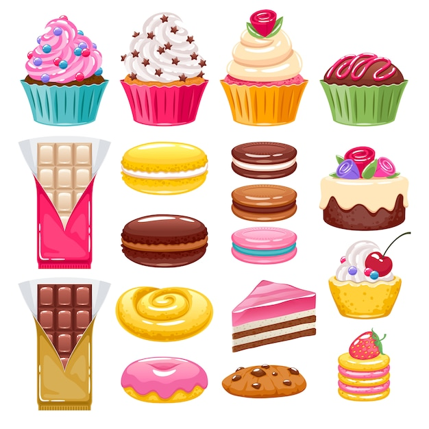Set of different bakery sweets. assorted candies. Premium Vector