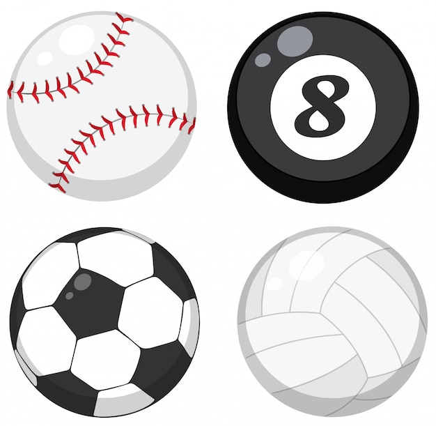 Set of different balls Free Vector